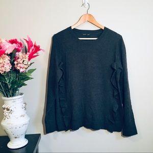 BANANA REPUBLIC Wool Charcoal Ruffle Sweater